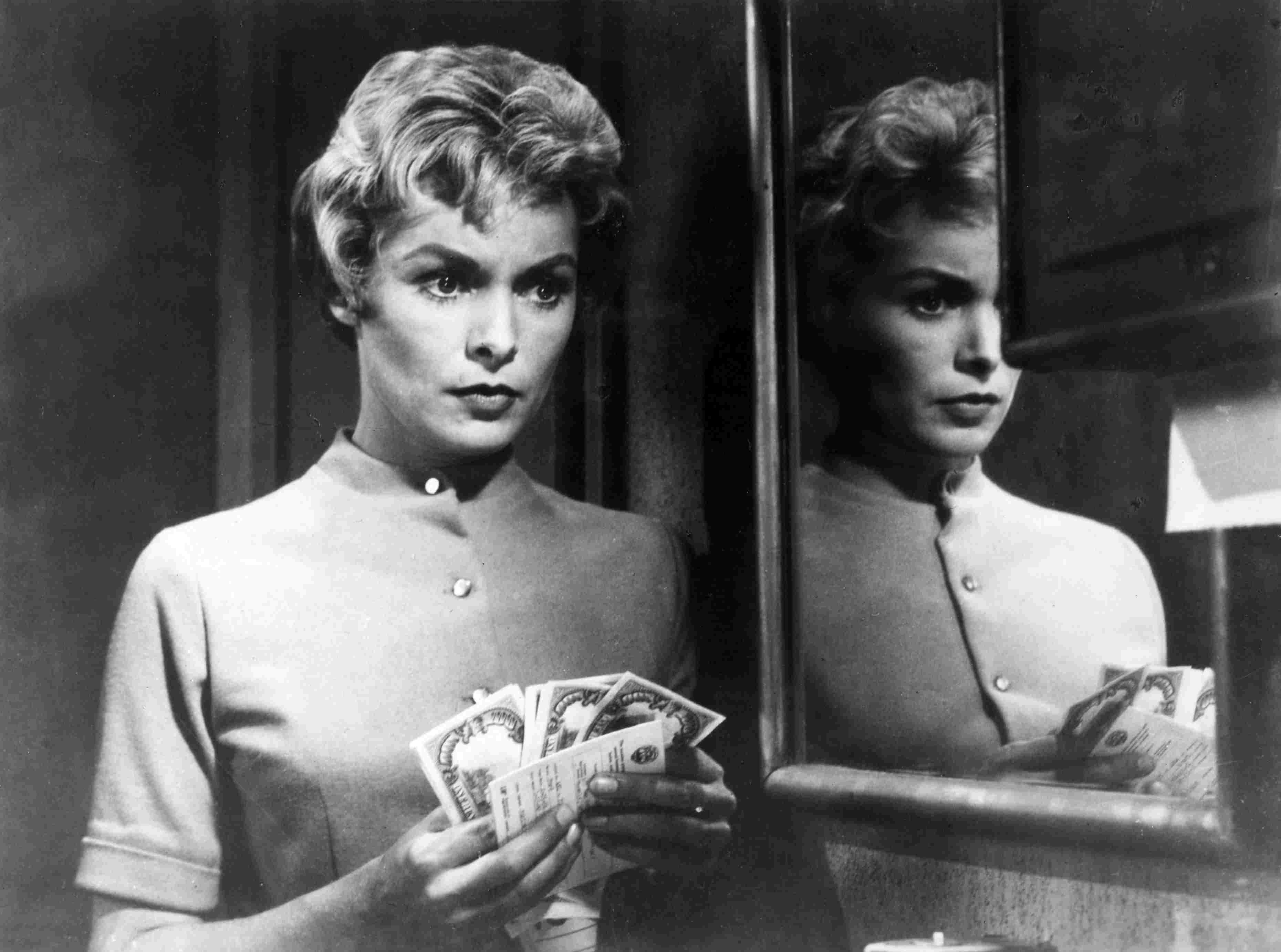 American film actress Janet Leigh in a scene from the film 'Psycho'