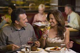 Hispanic couple having elegant dinner in restaurant