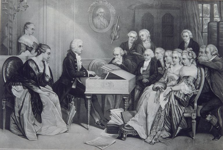 Illustration of Wolfgang Amadeus Mozart at piano with people sitting around him listening