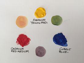 Primary paint colors cadmium yellow medium, cadmium red medium, cobalt blue and secondary colors