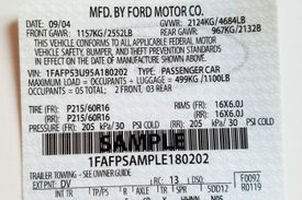 Sample Ford Mustang VIN sticker