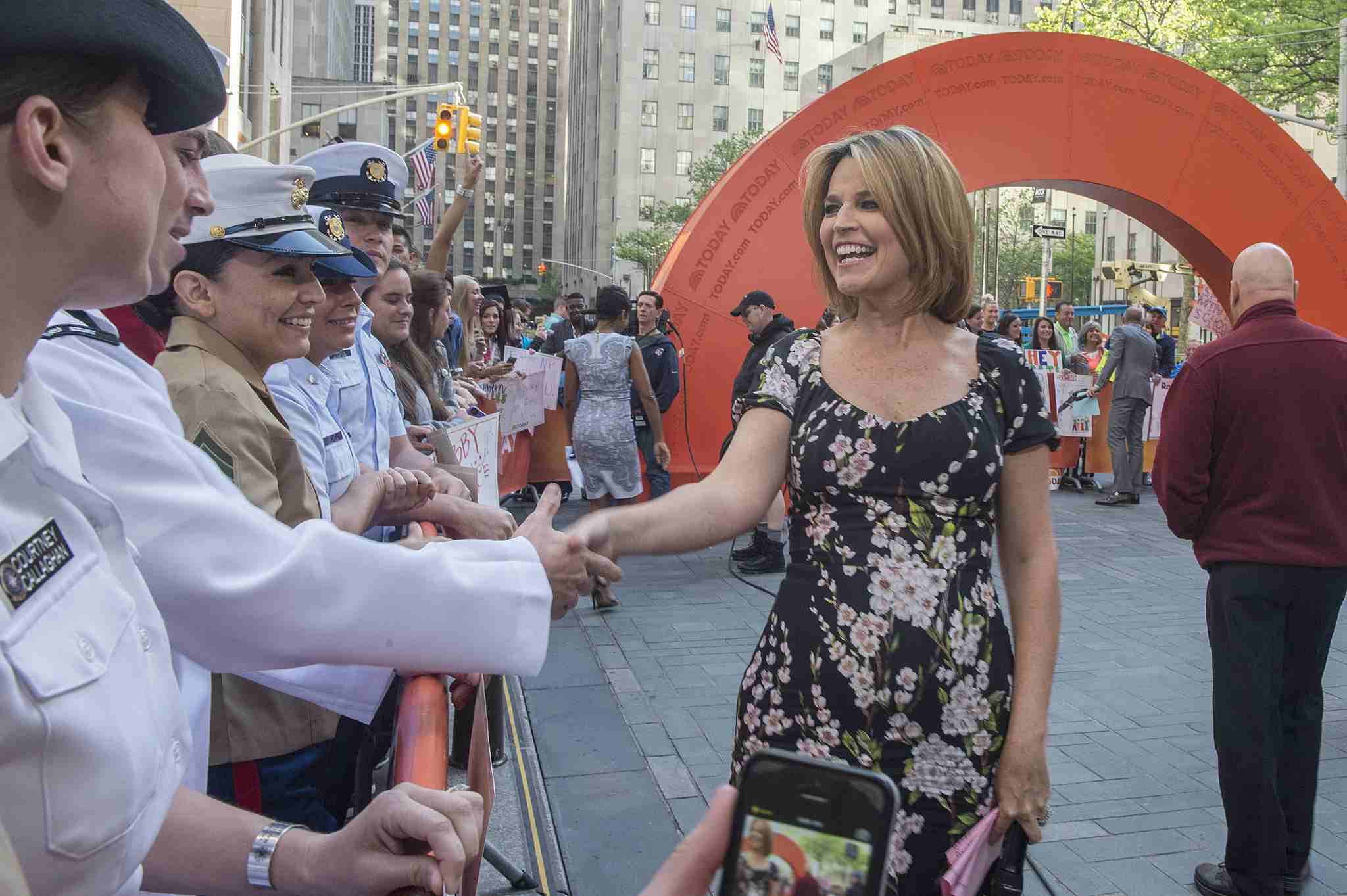 """Savannah Guthrie from NBC's """"The Today Show"""" shakes hands with U.S. Navy, U.S. Marine Corps and U.S. Coast Guard service members -- Fleet Week 2014"""