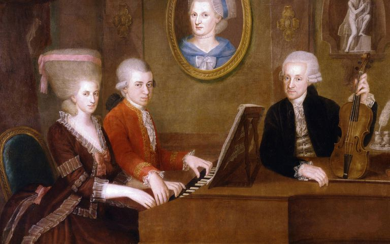 Maria Anna and Wolfgang Mozart at harpsichord with Leopold Mozart looking on