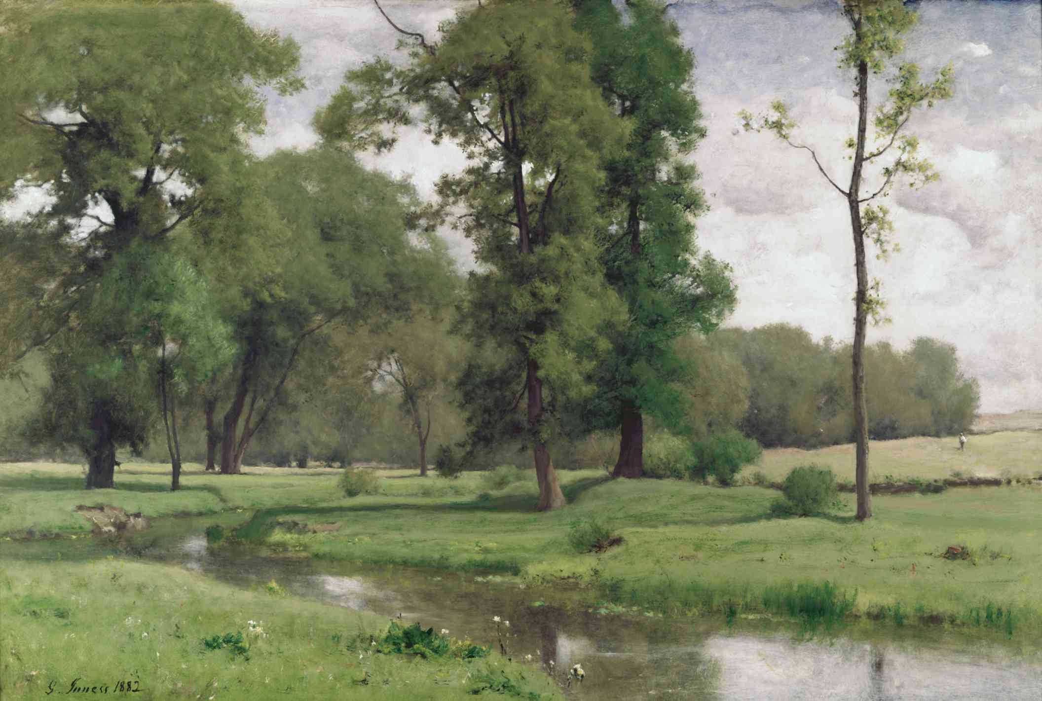 Landscape painting by George Inness with sky showing through trees