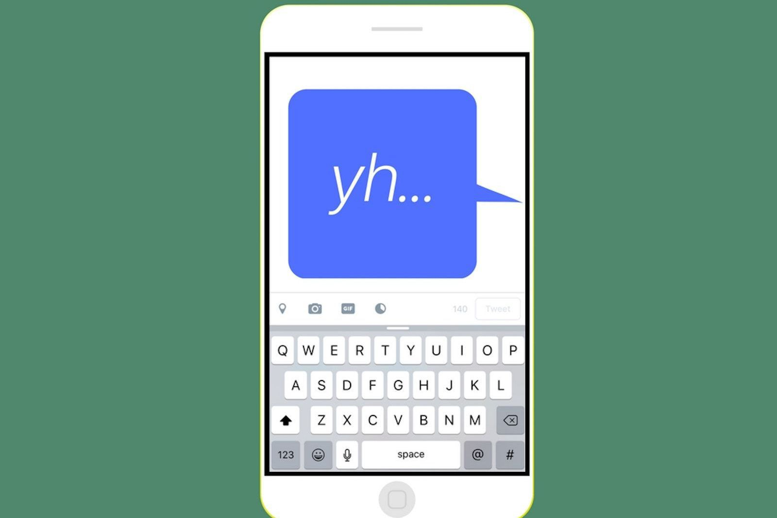 A YH text on a cell phone