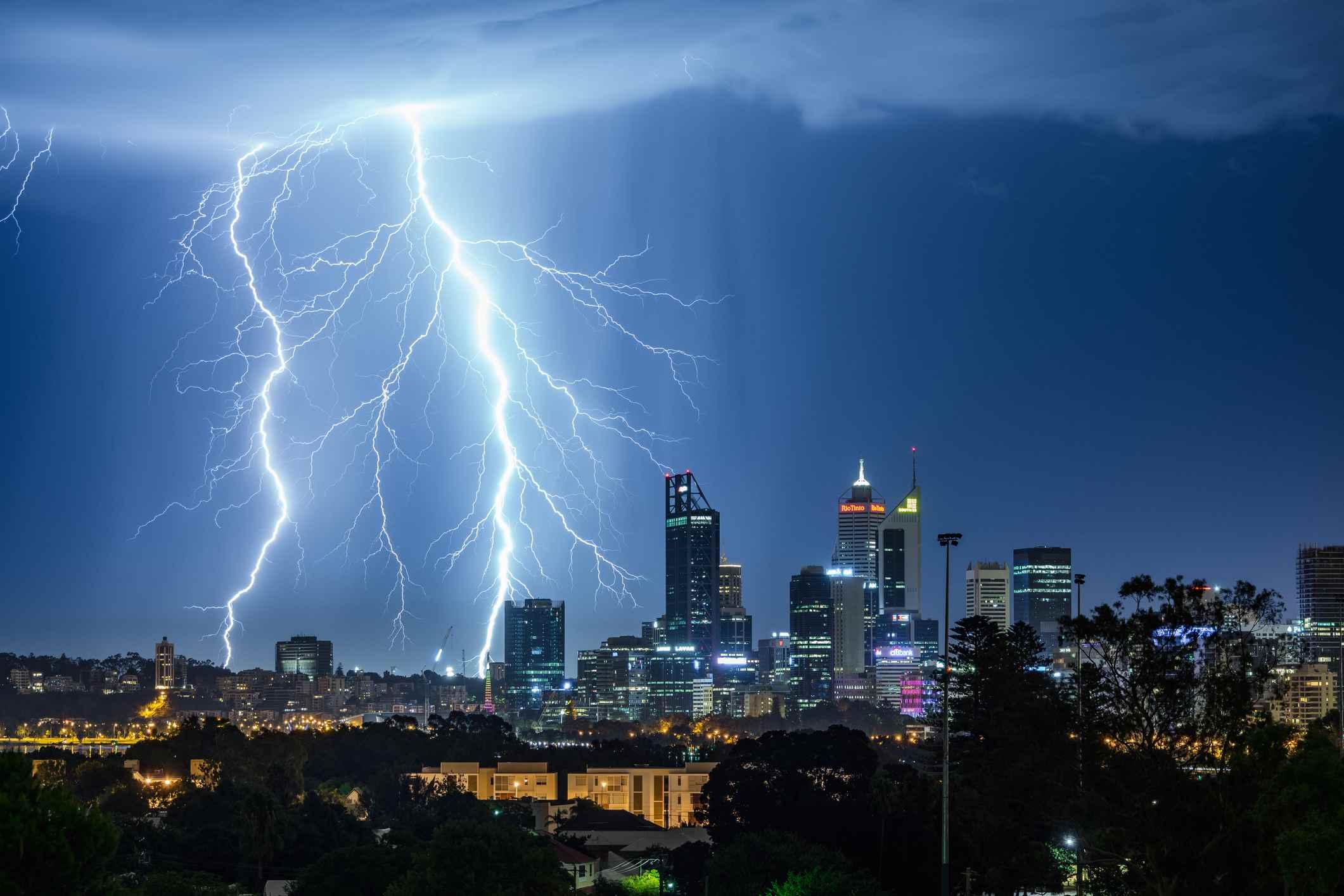 Lightning Strikes Over a Metropolis