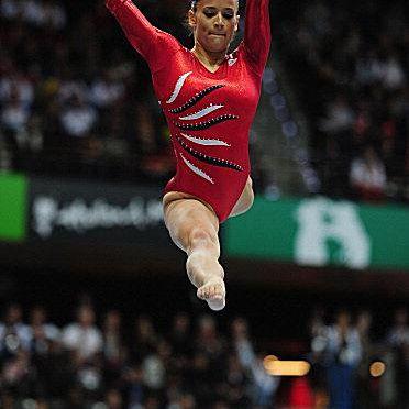 US gymnast Alicia Sacramone competes at the 2010 gymnastics worlds