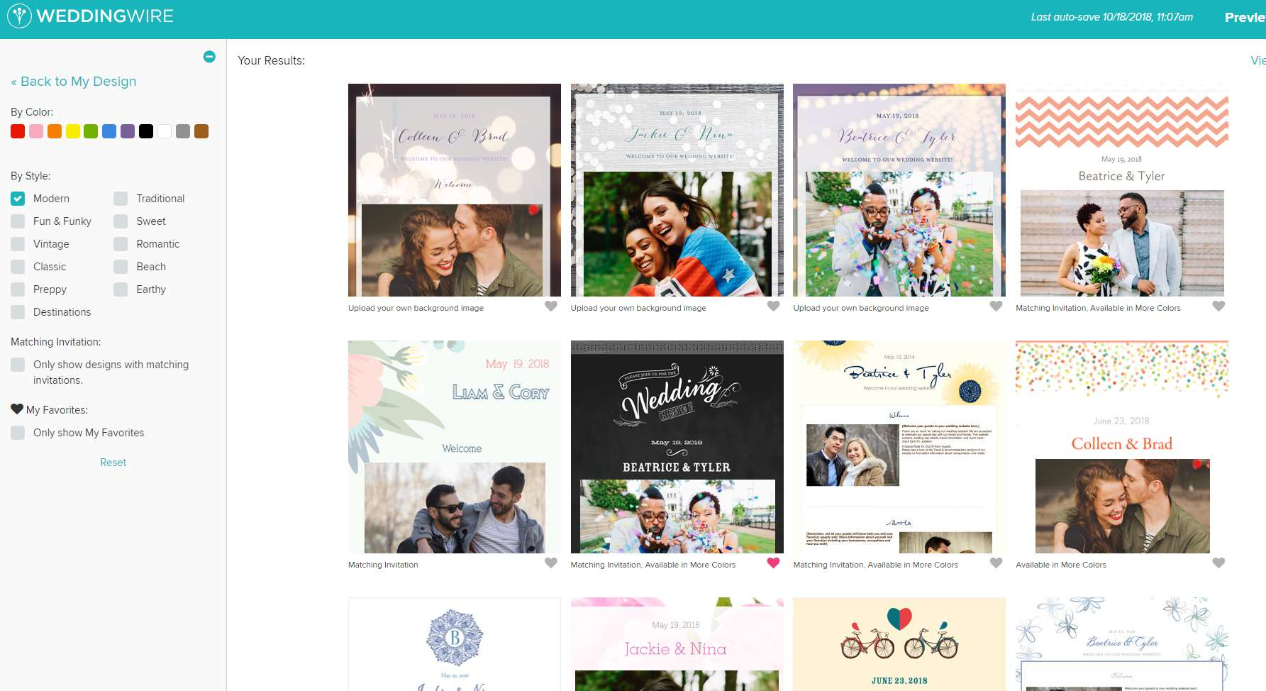 A selection of website themes available on Wedding Wire