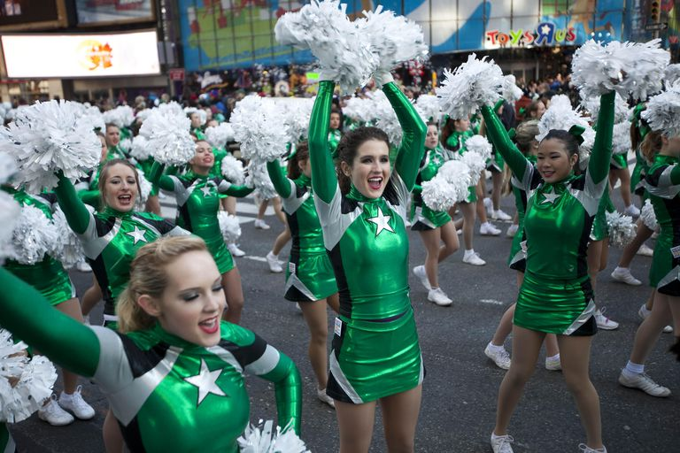 Cheerleaders ready for a parade