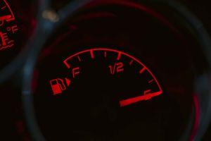 A car's fuel gauge.