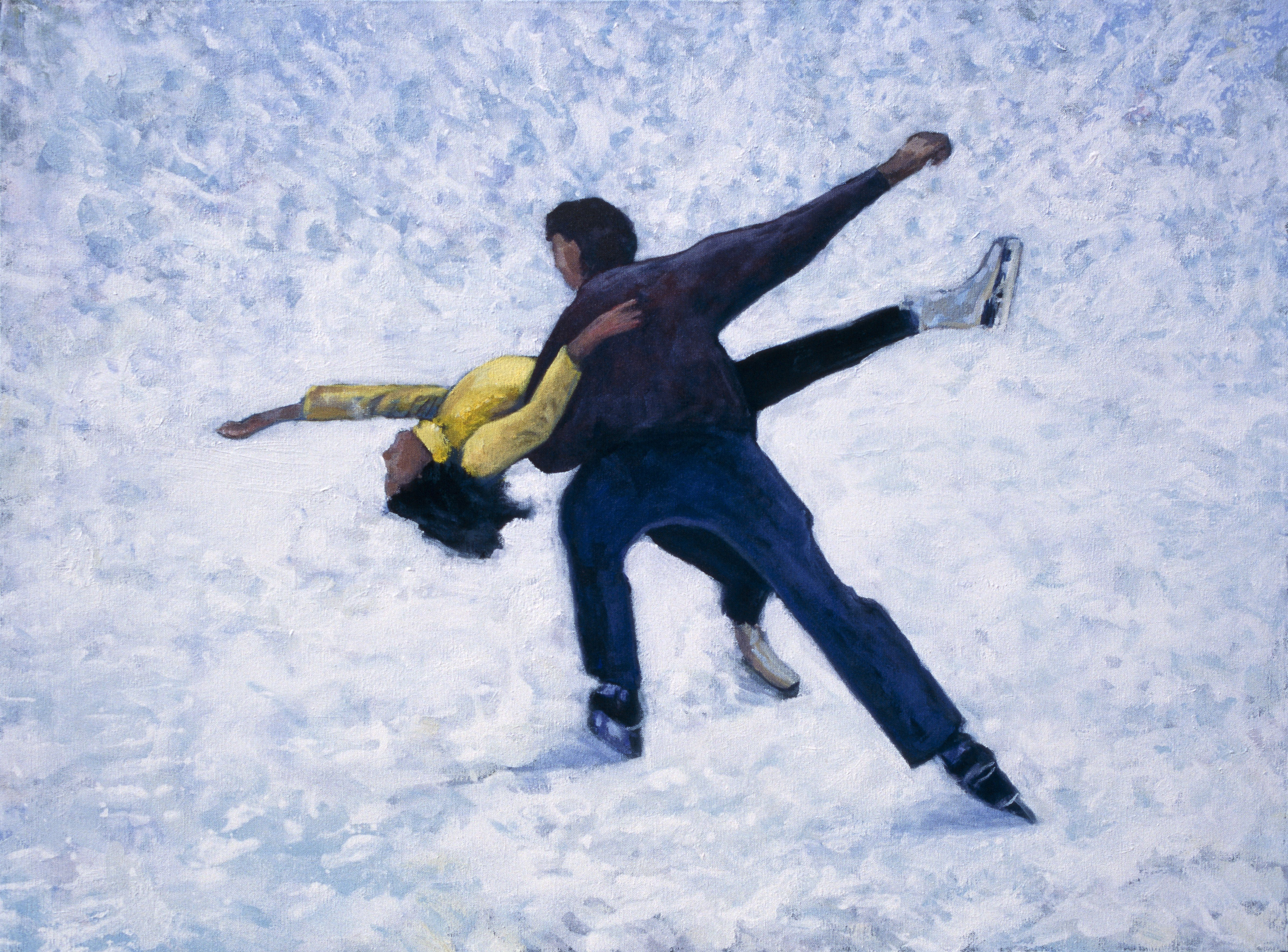 Couple figure skating outdoors