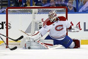 Carey Price of the Montreal Canadiens makes a save against the Tampa Bay Lightning in Game Three of the Eastern Conference Semifinals during the 2015 NHL Stanley Cup Playoffs.