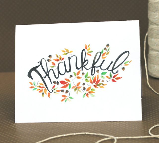 """A Thanksgiving greeting card that says 'Thankful""""."""