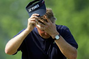 Colin Montgomerie of Scotland shows his frustration on the ninth hole during the final round of the 2006 US Open Championship at Winged Foot Golf Club