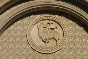stone carving of Lamb of God
