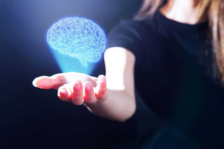 Hand Showing a Brain Hologram