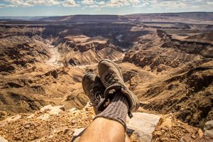 Man resting in canyon