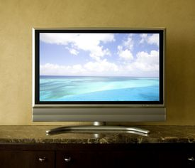 TV screen showing seascape (digital composite)