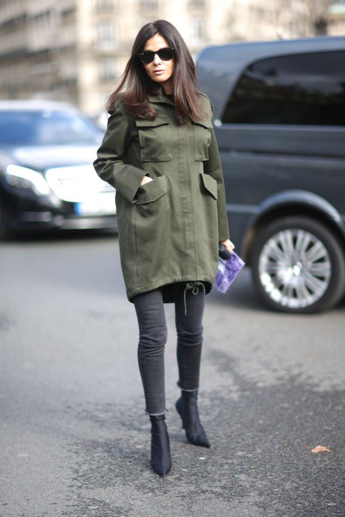 aa21b77154 Easy Fall Daytime Outfit  Olive Jacket and Grey Jeans. Woman wearing green  jacket and skinny ...