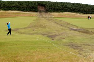 Ground under repair, an abnormal course condition at Castle Stuart Golf Links in Scotland
