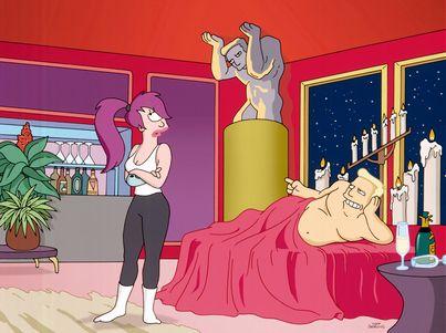 Leela and Zapp Brannigan on Futurama