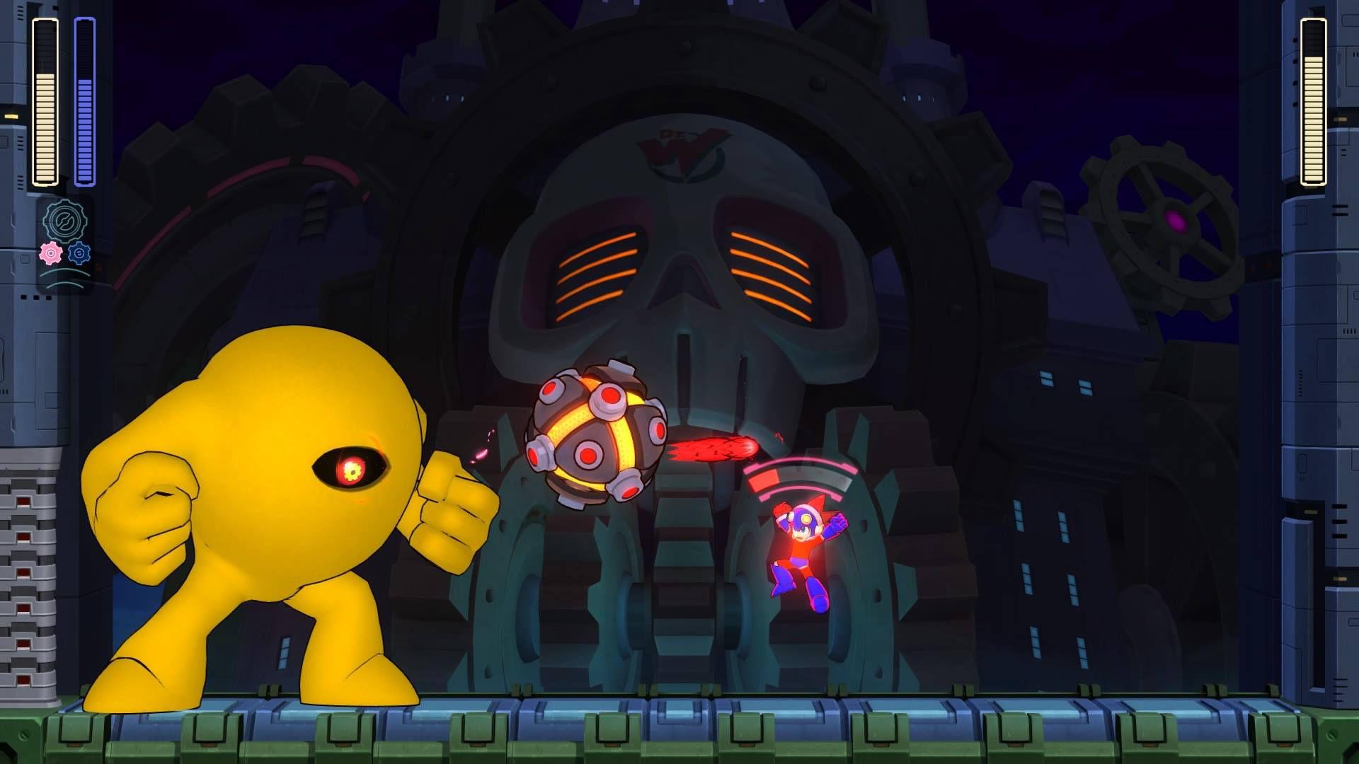 Mega Man attacks Yellow Devil in Mega Man 11