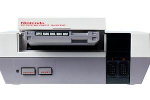 The original Nintendo NES with a Super Mario Bros./Duck Hunt cartridge