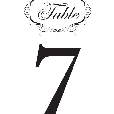 Black and white fancy wedding table number.