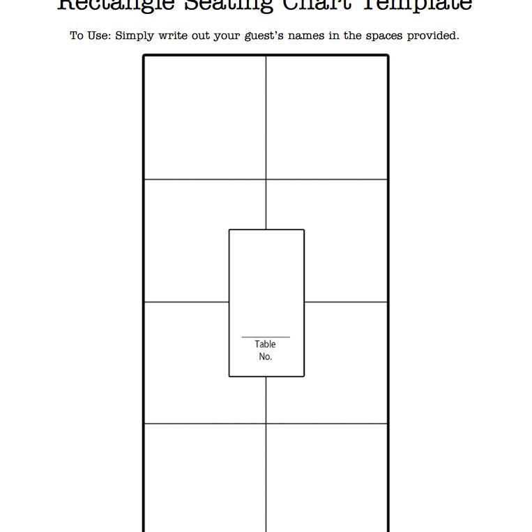 A rectangular wedding seating chart template