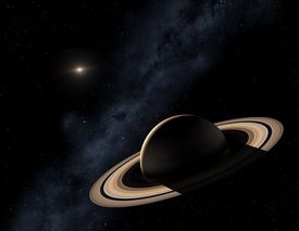 Saturn planet in solar system, close-up