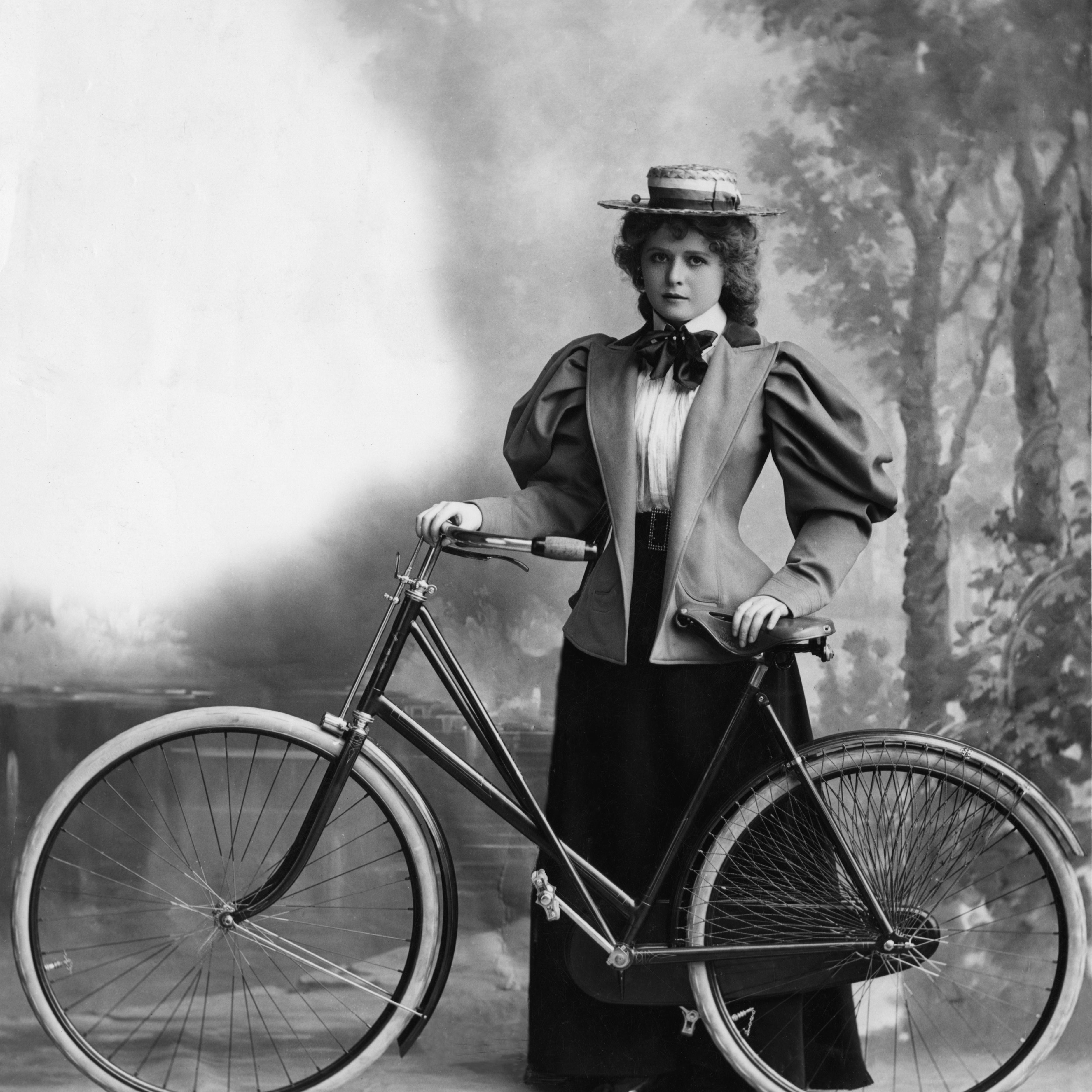 woman and bike, circa 1895