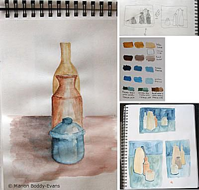 Artist sketchbook showing different painting ideas.