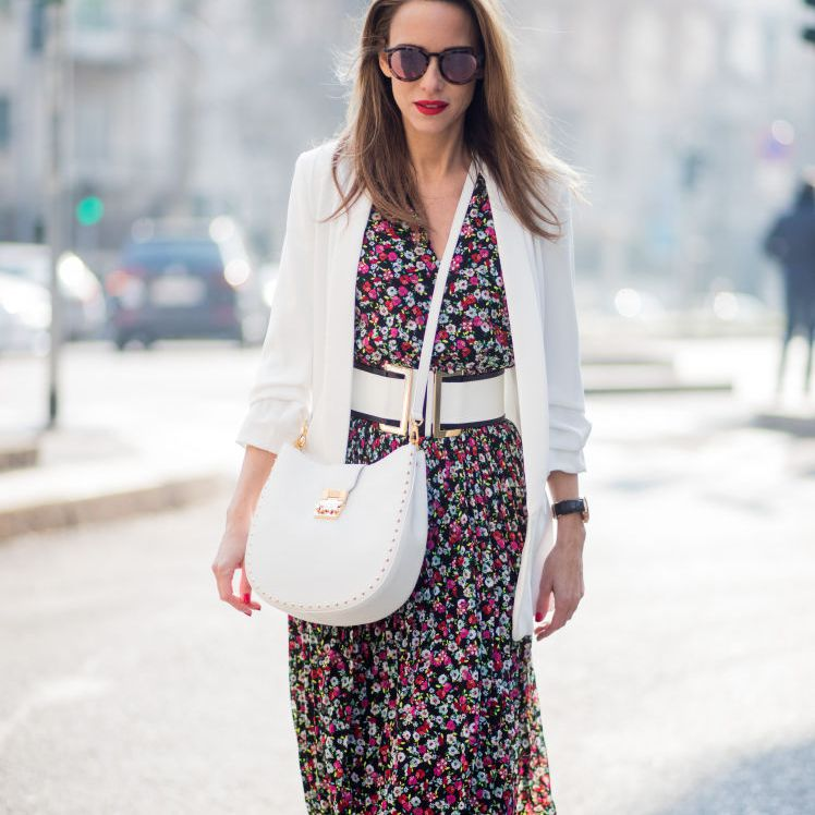 Flowered dress and white blazer outfit for women