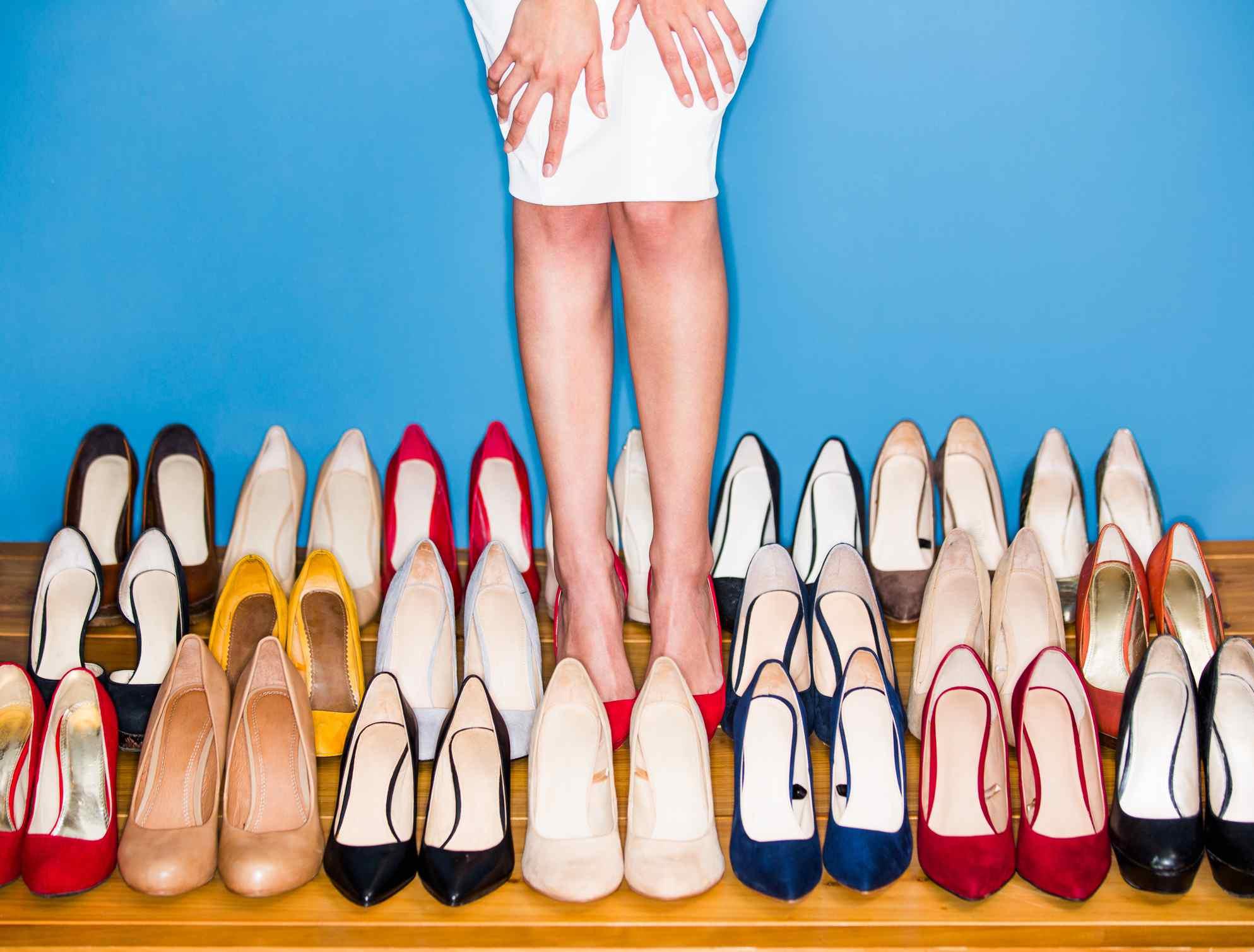 View of woman wearing high heels