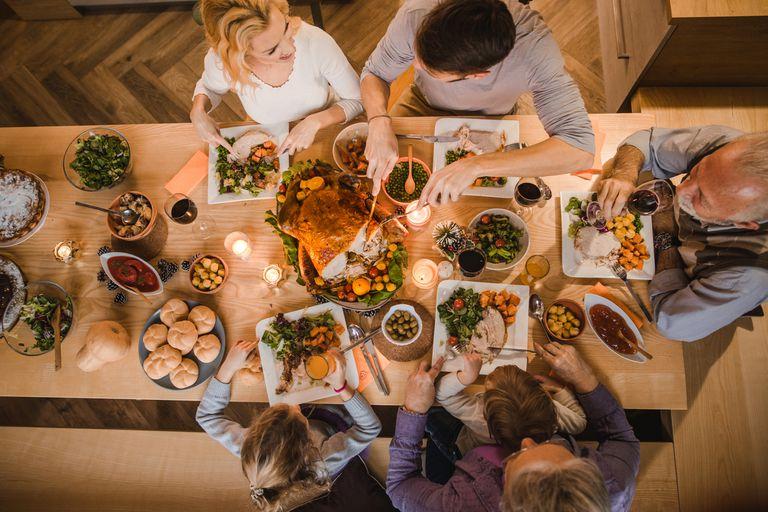aerial view of family having Thanksgiving dinner