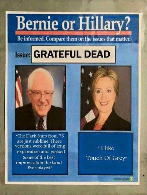 Bernie vs HIllary Meme Grateful Dead