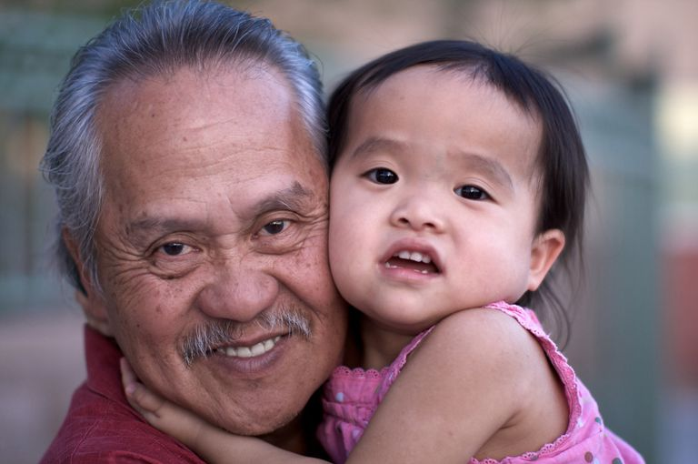 Filipino grandfather and granddaughter, Filipino grandparent and grandchild