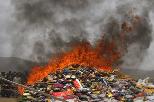 pakistan coast guard destroyed 8929 kgs of hashish, 61358 bottles of foreign origin alcohol 24292 t