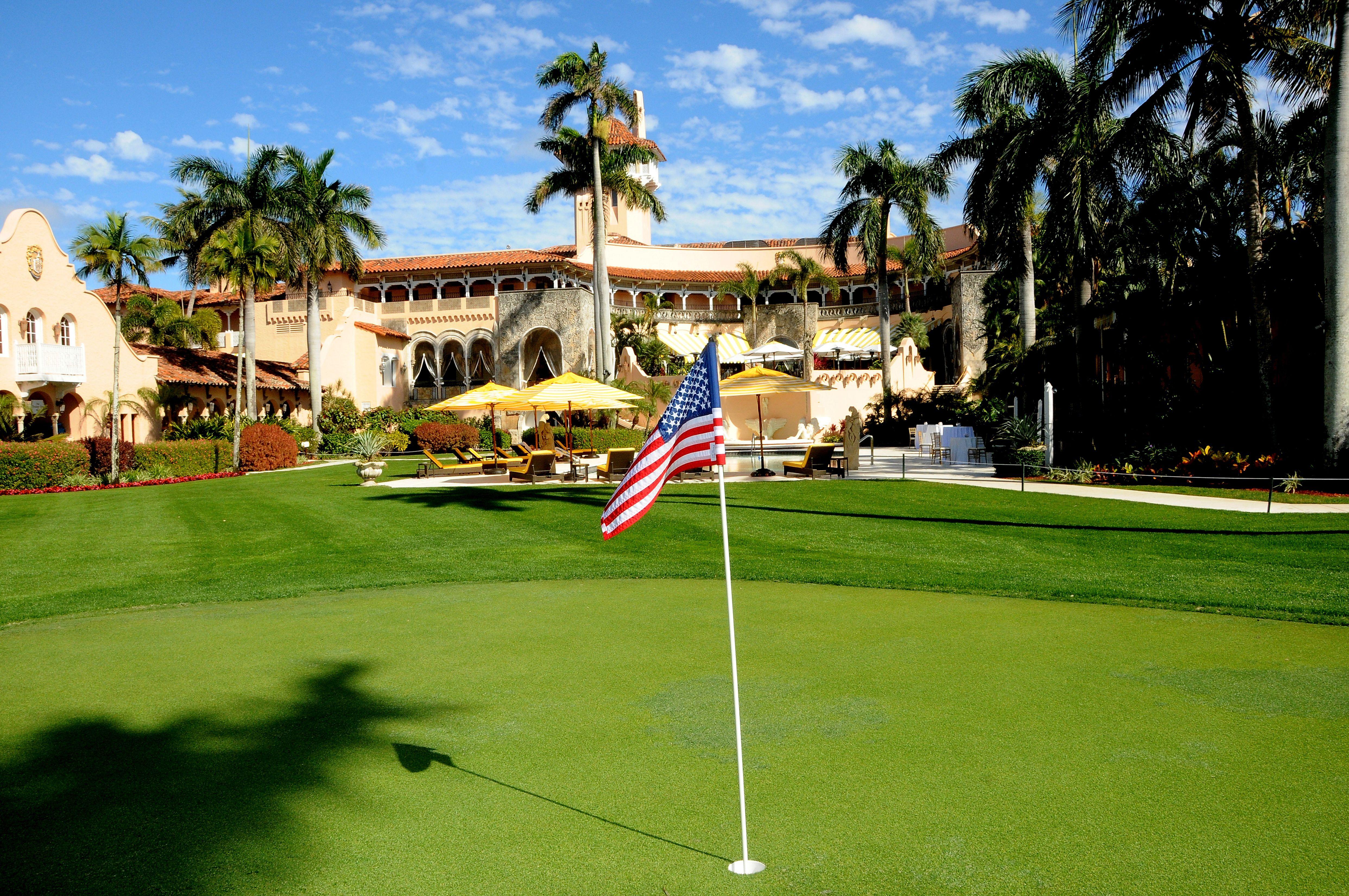 Putting green behind the Mar-a-Lago Club