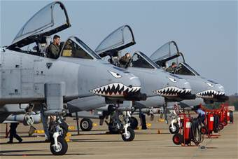 A-10 Thunderbolt IIs on a runway at Pope AFB