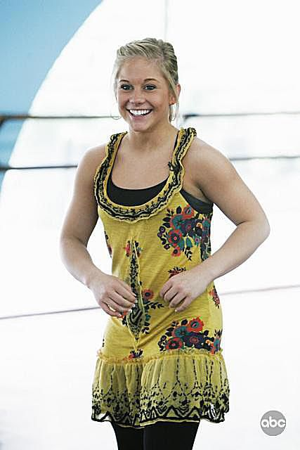 Olympic gymnast Shawn Johnson practices for her appearance as a contestant on Dancing with the Stars