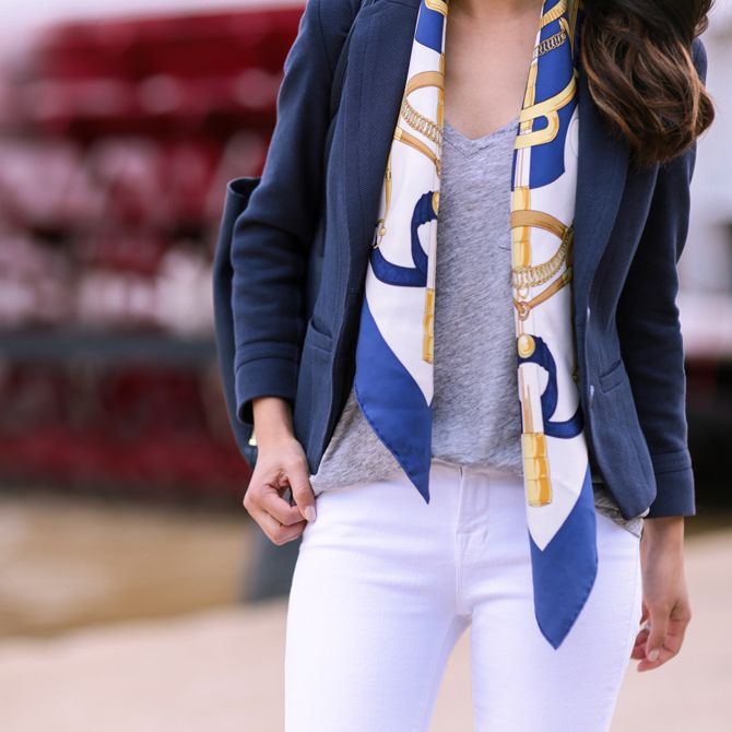 Loose silk scarf outfit with white jeans