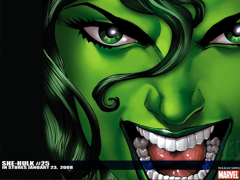 She-Hulk smiling with mouth open.