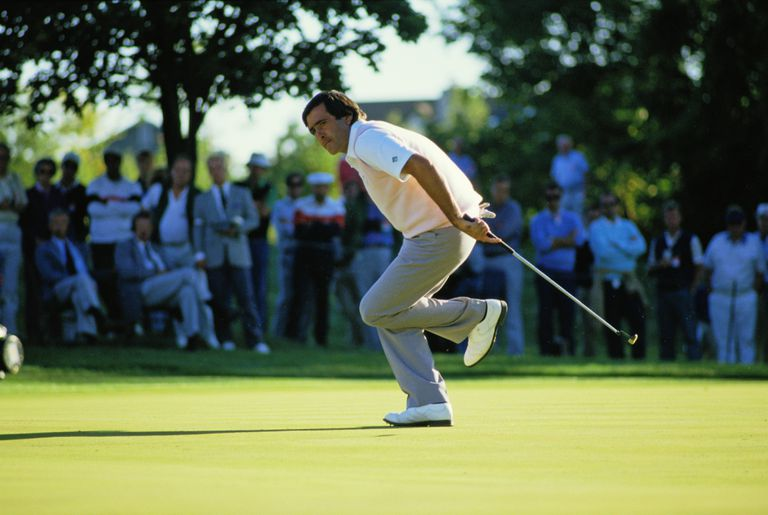 Seve Ballesteros reacts during the 1987 Ryder Cup in Ohio