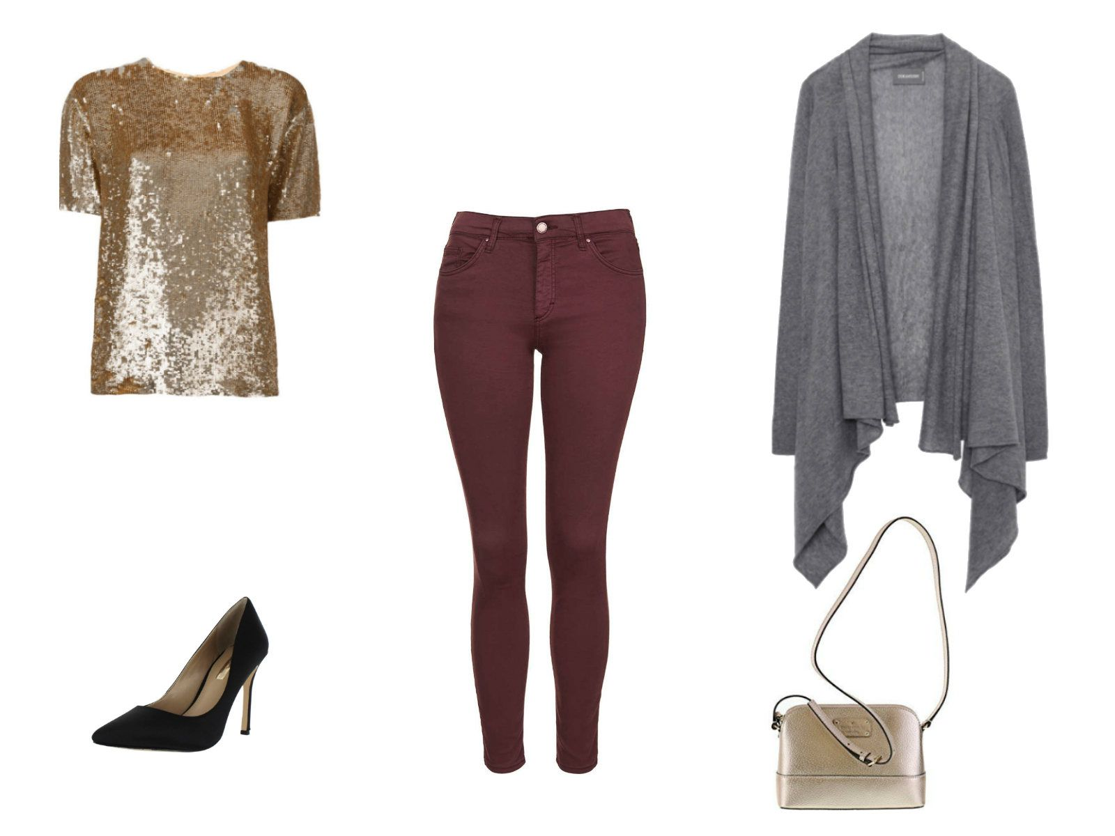 Winter date outfit with colored jeans