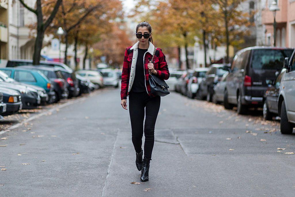 Plaid jacket and black jeans street style