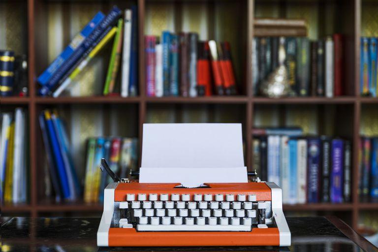 Vintage typewriter in writing area