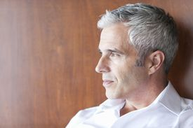 Mature man with gray hair