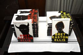 Two stacks of Bret Easton Ellis books.