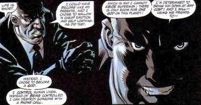 Panels from Lex Luthor: The Unauthorized Biography (1989) portray Luthor deep in shadow